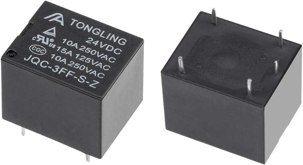 Sourcing Map Lot de 5 relais de puissance /électromagn/étique JQC-3FF-S-Z DC 24 V SPDT 5P PCB Noir