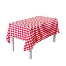 EffortLife Vinyl Tablecloth Spill-proof Water-proof Oil-proof Kitchen Dining Wipe Clean Oblong/Rectangle PVC Table Cover 55 x 80 Inch,Red Checkered