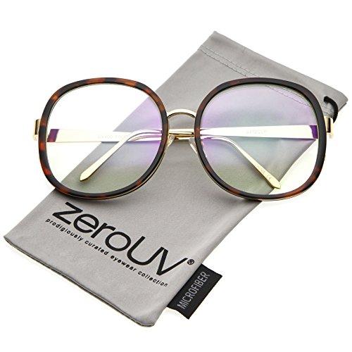 zeroUV - Women's Oversize Metal Arms Nose Birdge Clear Lens Round Eyeglasses 61mm (Tortoise-Gold / - Nose Man Eyeglasses For Big