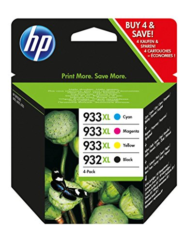 HP 932XL-933XL 4 Pack Set- Black and Color Inkjet Set 1 HP 932XL Black CB053AN by HP
