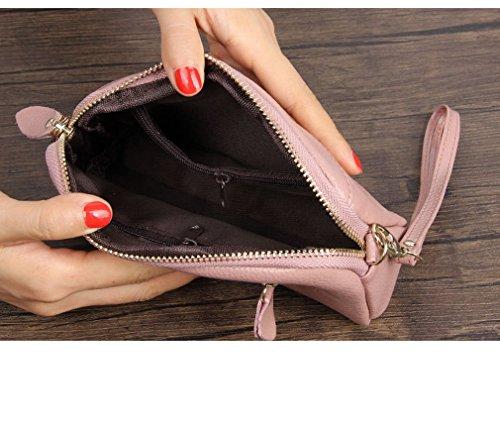 Kauftree Damen Frauen Leder Clutch Geldbörse Portemonnaie Geldbeutel Handtasche Damentasche Rosa