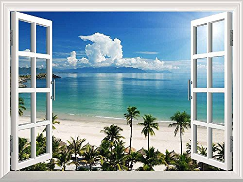 White Beach with Blue Sea and Palm Tree Open Window Mural Wall Sticker