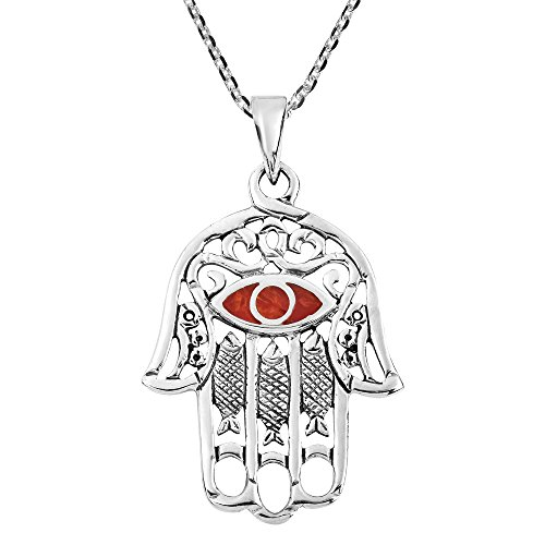 AeraVida Hamsa Hand with Evil Eye Reconstructed Red Coral Inlaid .925 Sterling Silver Pendant Necklace ()