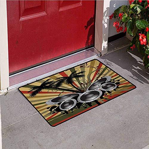 - Jinguizi Modern Front Door mat Carpet Palm Trees Striped Ombre Backdrop Music Loudspeaker Art Print Machine Washable Door mat W15.7 x L23.6 Inch Red Tan Hunter Green Black Grey