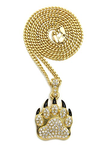 """ICED OUT BEAR PAW PENDANT & 24"""" BOX/CUBAN/ROPE CHAIN HIP HOP NECKLACE - XZ223 (Gold / Cuban Chain)"""