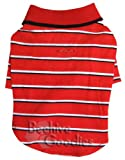 Cute Red/Black/White Stripes Polo Shirt with Ribbed Collar for Small Dogs – M