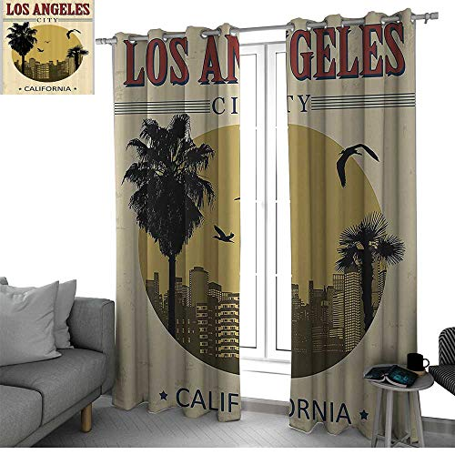 bybyhome Apartment Decor Collection Microfiber Window Panel Pair Los Angeles City from California in Vintage Style Birds Vacation Journey Design Room Darkening Curtains for Bedroom Ivory Olive -