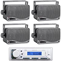 Pyle PLMR20W White Marine AM/FM Radio Player USB Input +4) Mini Box Speakers