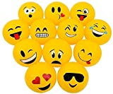 Novelty Treasures POPULAR 16'' EMOJI Beach Ball Inflates (12 Pack) Pool Inflate Birthday Party Favor Toy