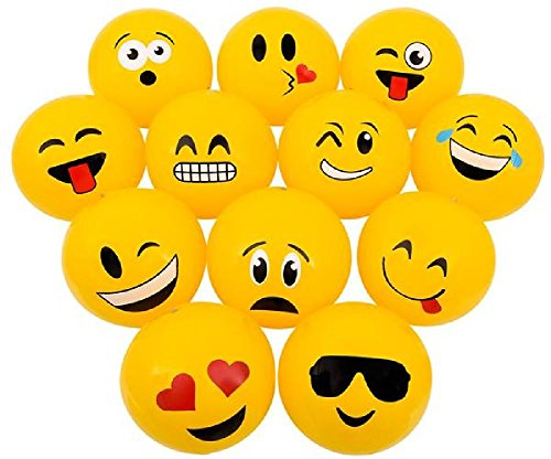 Novelty Treasures POPULAR 16'' EMOJI Beach Ball Inflates (12 Pack) Pool Inflate Birthday Party Favor Toy by Novelty Treasures