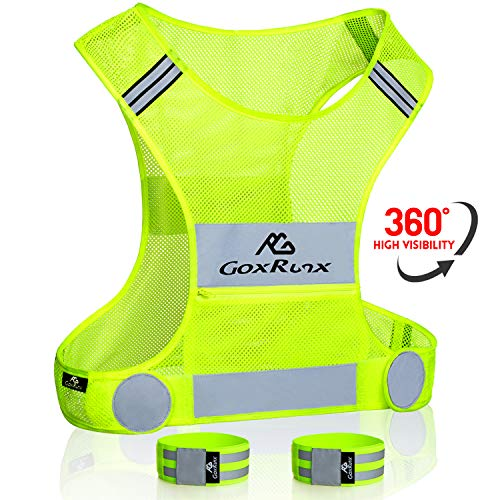 Reflective Running Vest Gear with Large Pocket & Adjustable Waist for Men Women,Ultralight & Comfy Reflective Vest for Walking Cycling, Safety Vest in 5 Sizes +2 Reflective Bands (Yellow, Large)