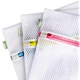 Laundry Bags, SASUM LIFE 3 Pack Zippered Mesh Polyester Wash Bags Premium Durable White for Jeans, Lingerie,Socks,Bra…