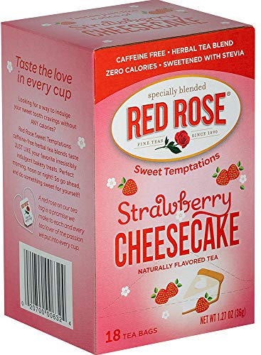- Red Rose Sweet Temptations Strawberry Cheesecake Tea, 18 Tea Bags (Pack of 6)