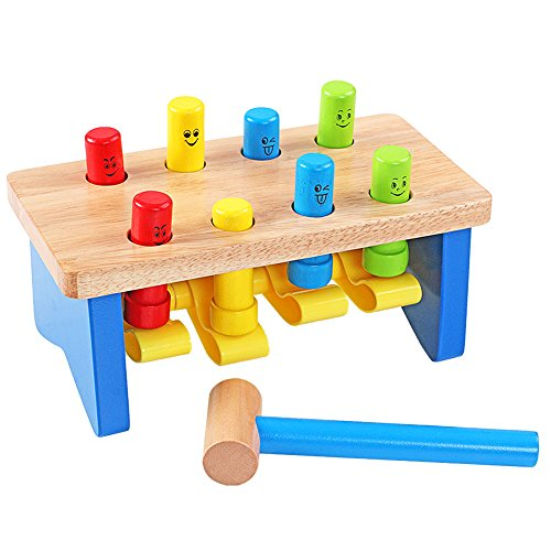 QZM Deluxe Pounding Bench Wooden Toy With Mallet Early Educational Games for Toddlers Kids and Ages 2 years and up by QZM woden toys