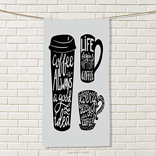 smallbeefly Coffee Travel Towel Quotes About Coffee with Take Away Mug Cup Silhouette Drinking Addiction Theme Quick-Dry Towels Pale Grey Black Size: W 27.5