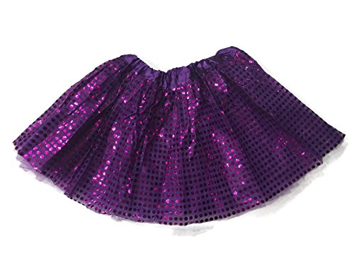 Rush Dance Sparkle Sequin Ballerina Girls Dress-Up Princess Costume Recital Tutu (Kids (3-8 Years), Purple)