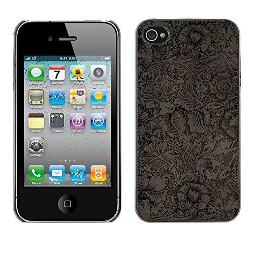 TopCaseStore / caoutchouc Hard Case Housse de protection la Peau - Wallpaper Pattern Floral Coffee Flowers - Apple iPhone 4 / 4S