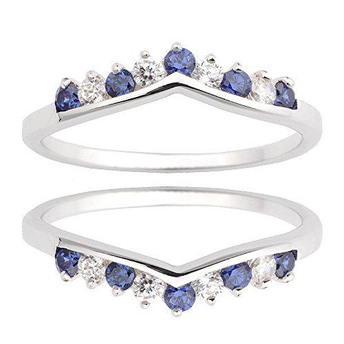 Two Pieces Sterling Silver 925 Round Shape Blue Cubic Zirconia Wedding Ring Guard Size 7 by Janjewelry