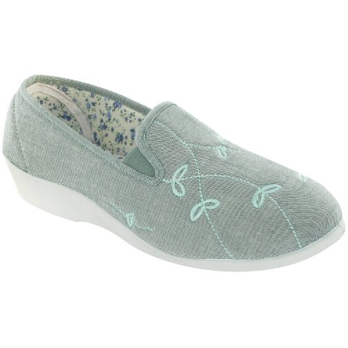 Mirak Ladies Bessie Slip On Two Gusset Canvas Summer Casual Shoe Green Beige