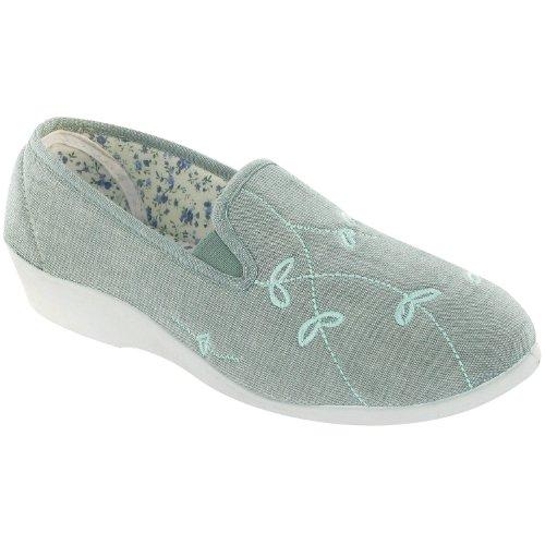 Mirak Ladies Bessie Slip On Two Gusset Canvas Summer Casual Shoe Green Azul