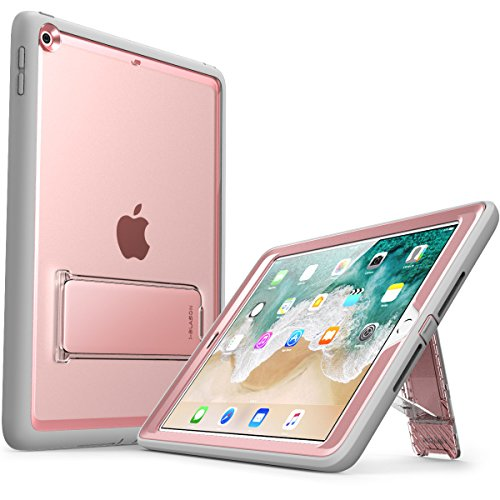 New iPad 9.7 Case 2018/2017, i-Blason [Ares Series] [Kickstand] Full-Body Rugged Protective Clear Case with Built-in Screen Protector & Dual Layer Design for Apple iPad 9.7 2017/2018 (Rosegold) by i-Blason