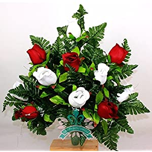 Gorgeous Red Roses And White Roses Cemetery Arrangement For Mausoleum 8