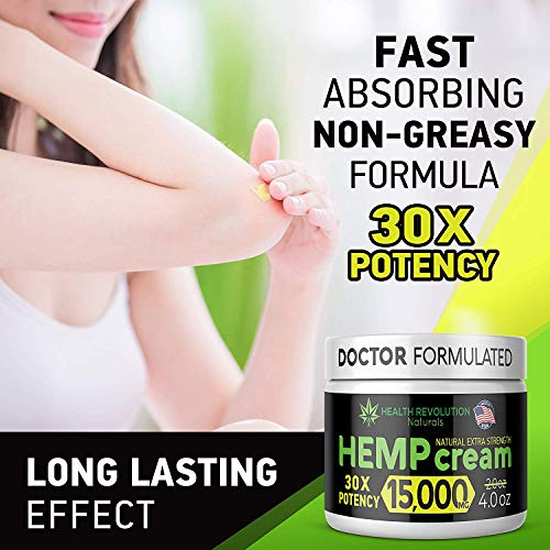 51m8cuS7ffL - Extra Strength Hemp Cream for Pain Relief - Only 3rd Party Tested Product To Verify Strength/Results. All Natural for Nerve-Sciatic, Muscle, Back Pain & Inflammation, with Arnica, MSM, Emu, Turmeric