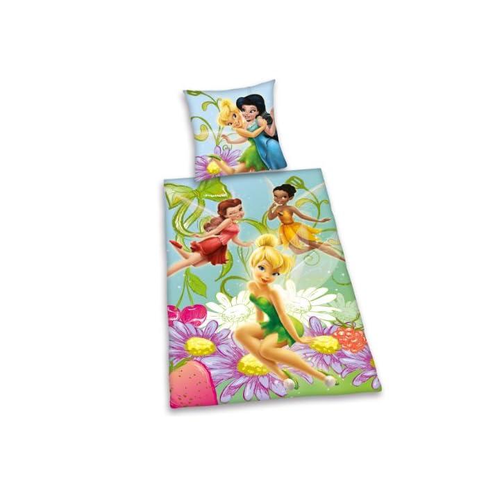 51m8d zdfyL Ropa de cama Disney Fairies De Almohada: 65 x 100 cm con cierre de botones, funda nórdica: 160 x 210 cm con cierre de botones. Material: 100% algodón.