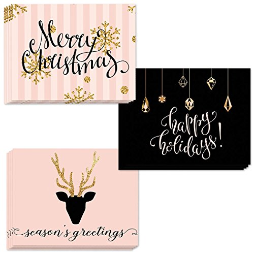 (24 Seasons Greetings Cards, 3 Assorted Glittery Christmas Designs Envelopes Included, Send Festive Wishes to Family, Friends & Coworkers, 24 Mixed Variety Boxed Notecards, Gem of a Value by Digibuddha)
