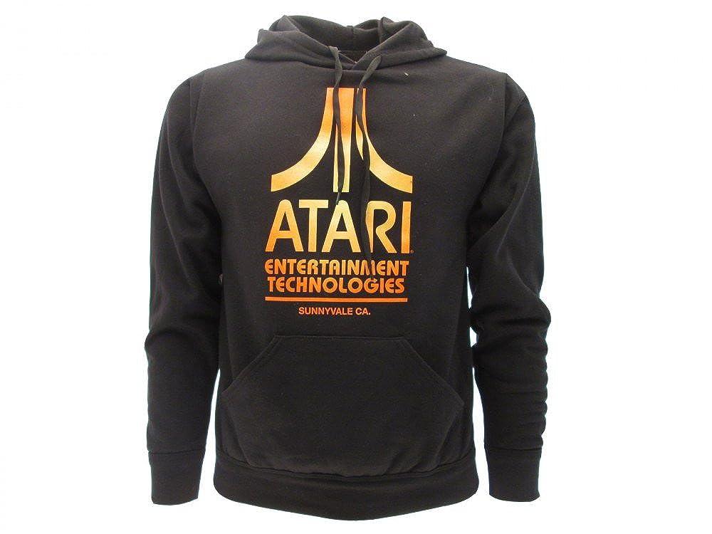 Felpa ATARI Originale Logo con cappuccio nera Prodotto Ufficiale ATARI uomo donna unisex