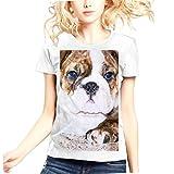 Womens American Bulldog Dog Face 100 Contton Short Sleeves white tshirt.