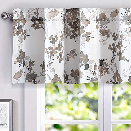 DriftAway Watercolor Floral Botanical Pattern Thermal Insulated Energy Saving Lined Window Curtain Valance for Living Room Rod Pocket 52 Inch by 18 Inch Plus 2 Inch Header ()