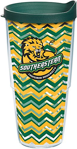 Tervis 1198786 Southeastern Louisiana Lions Chevron Tumbler with Wrap and Hunter Green Lid 24oz, Clear