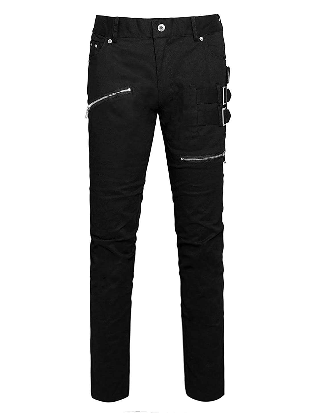 f26718b5be9 uxcell Men Casual Slim Fit Pockets Patch Buckle Zipper Gothic Punk Rock  Pants at Amazon Men s Clothing store