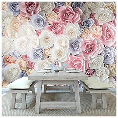Azutura Pink Rose Flowers Wall Mural White Blue Floral Photo Wallpaper Girls Home Decor Available In 8 Sizes Gigantic Digital