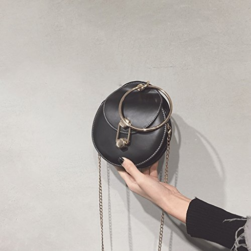 Woman Single Female Buckle Portable Hanging Mini Black Handbag Bag Shoulder Round color Bag Bag Locking Gray wYqxwP51g