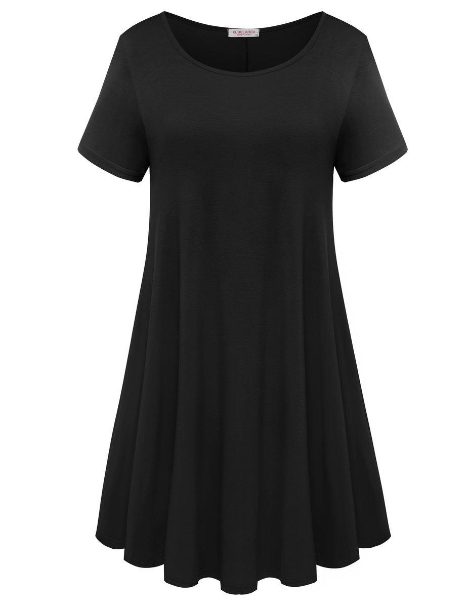 BELAROI Womens Comfy Swing Tunic Short Sleeve Solid T-Shirt Dress (2X, Black)