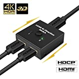 NIERBO Hdmi Switcher 2X1 4K@60HZ (a Free HDMI 1.4 Cable After Input CLAFZEH4) Dual Monitor 2 in 1 Out 1 in 2 Out HDMI Switcher Manual Duplicating Video Audio Full Ultra HD 1080P 3D