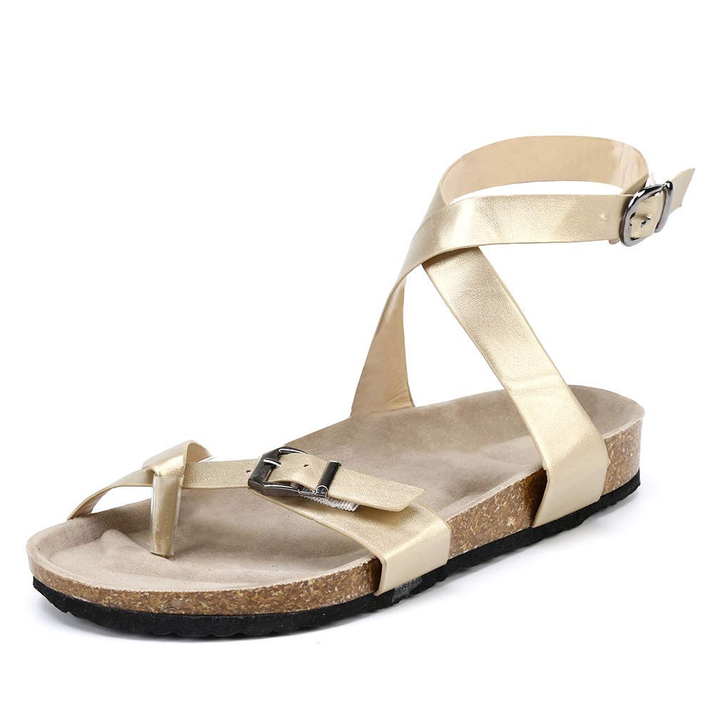 Sara Love Women\'s Summer Flat Ankle Buckle Sandals Gladiator Thong Flip Flop Mayari Sandals Gold 36