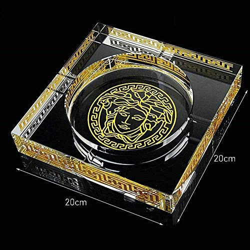 WHPHOME Heavy Crystal Ashtray - Square, Large Home Decor Office Cigar Ashtray (Size : L) by WHPHOME (Image #1)