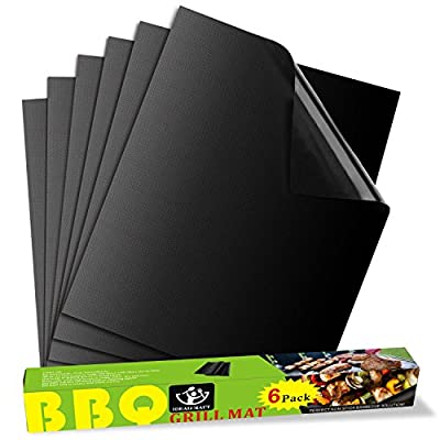 IDEALCRAFT BBQ Grill Mats - Set of 6 Mats - 100% Non-stick BBQ Grill & Baking Mats - FDA-Approved, PFOA Free, Reusable - Works on Gas, Charcoal, Electric Grill and More - 15.75 x 13 Inch from IDEALCRAFT