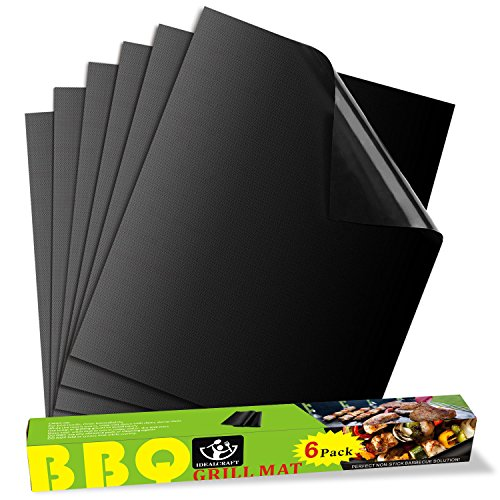 Purchase IDEALCRAFT BBQ Grill Mats – Set of 6 Mats – 100% Non-stick BBQ Grill & Baking Mats – FDA-Approved, PFOA Free, Reusable – Works on Gas, Charcoal, Electric Grill and More – 15.75 x 13 Inch
