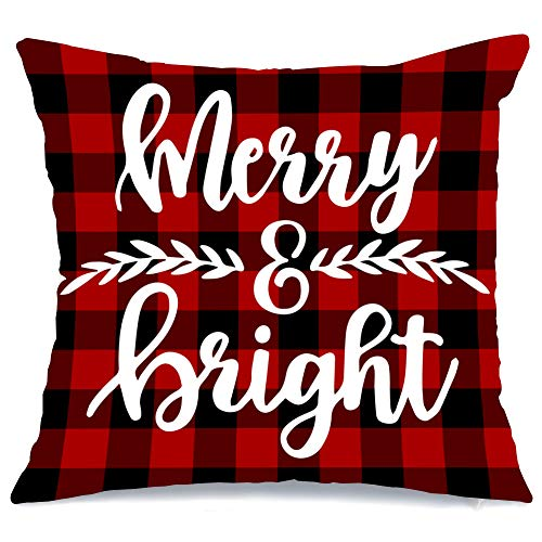 AENEY Christmas Pillow Cover 18x18 for Couch Red and Black Buffalo Check Plaid Marry and Bright Throw Pillow Farmhouse Decorations Home Decor Xmas Decorative Pillowcase Faux Linen Cushion Case Sofa