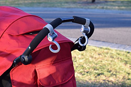 MumnBub Stroller Hook - 2 Pack (Grey) Multi-Purpose Heavy Duty Buggy Clips for Mommy - Universal Fit Perfect Pram Accessories for Hanging Diaper bag, Shopping bag, Groceries -Includes 2 Stroller Pegs by MumnBub (Image #7)