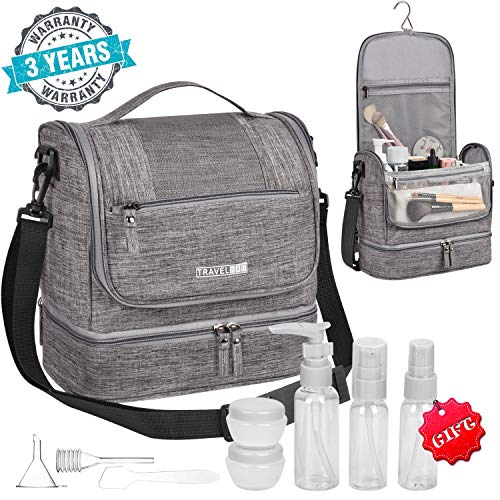Toiletry Bag Hanging Toiletry Bag for Women Men Large Waterproof Travel Bag Portable Toiletry Kit Compact Makeup Bag with Hook Strap for Cosmetics Shaving Kit Camera Shower Bathroom Dorm (gray)