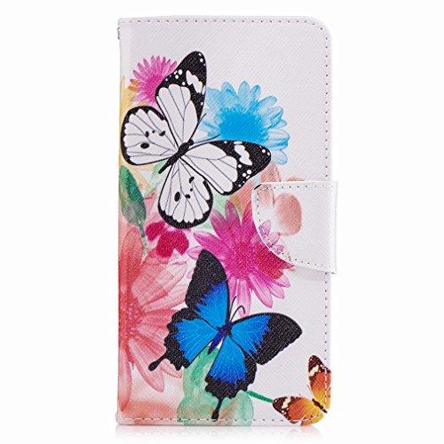 Yiizy Nokia 6 Funda, Flower Butterfly Diseño Solapa Flip Billetera Carcasa Tapa Estuches Premium PU Cuero Cover Cáscara Bumper Protector Slim Piel Shell Case Stand Ranura para Tarjetas Estilo