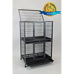 """Homey Pet New 31"""" Pet Crate and Durable Plastic Black Tray (Cage)"""