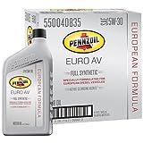 Pennzoil 550040835-6PK Euro AV SAE 5W-30 Full Synthetic Motor Oil - 1 Quart, (Case of 6)