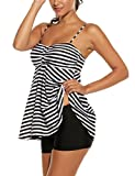 Palove Women Tankini Dress Set with Boyshort 2 Piece Stripe Swimsuit, Black/3XL