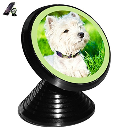 Westie Dog Magnetic Car Mount Holder for Cell Phones and Mini Tablets with Fast Swift-snap - Force In Effect And Full Remain